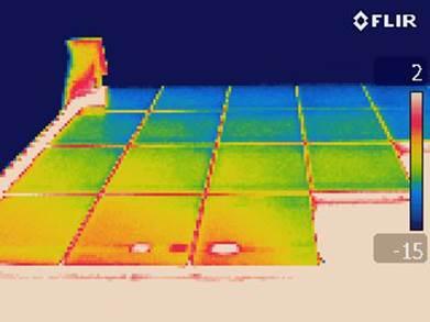 Cellules défectueuses vue en thermographie